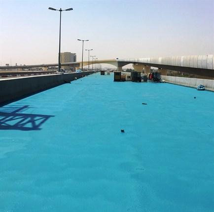 Waterproofing spray applied