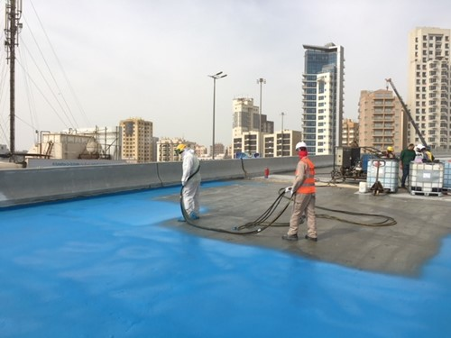 Polyurethane spray applied waterproofing system